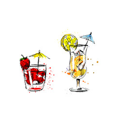 colored hand sketch of summer drinks vector image