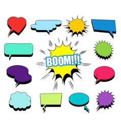comic blank speech bubbles and clouds set vector image