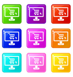 Computer monitor with shopping cart icons 9 set vector