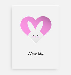 cut the heart on the paper and white rabbit vector image