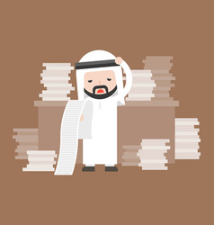 Cute arab business man stress in work place and vector