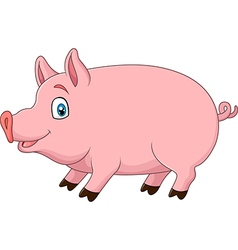 Cute pig isolated on white background vector image