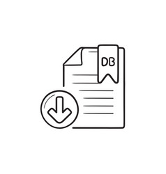 database file download hand drawn outline doodle vector image