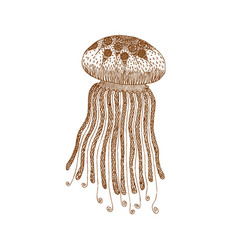 decorative brown line jellyfish in zentangle style vector image