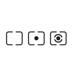 Digital photography camera metering mode icon set vector
