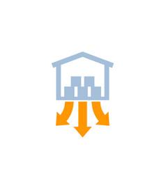 Distribution center warehouse icon vector