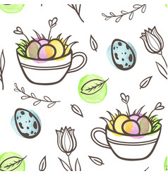 easter seamless pattern with eggs and florals vector image