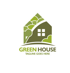 Eco house with green tree background vector