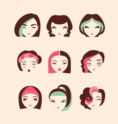 fashion girls with make up and hairstyles vector image