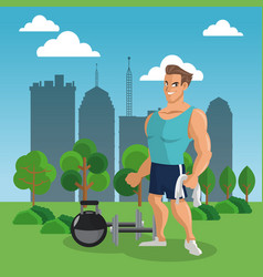 fitness man at park vector image