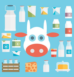 Flat milk icon set vector