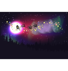 Flying Santa over Aurora Borealis vector