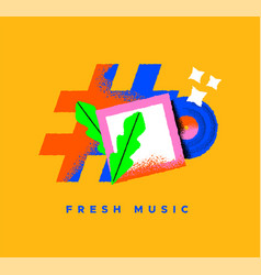 fresh new music cartoon icon concept isolated vector image