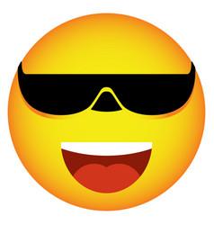 Glasses face smile emoji icon vector