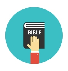 Hand on the Bible icon flat vector