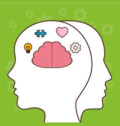 Head with brain icon vector