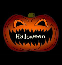 helloween card with creepy pumpkin vector image