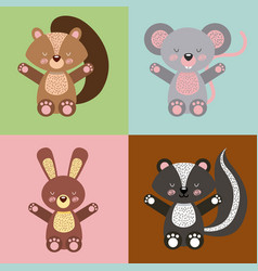 Icons set cute animals vector