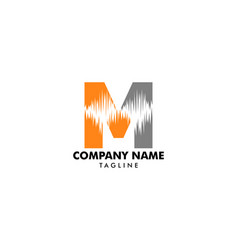 Letter m logo with wave sound shape vector