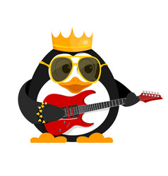 lovely young penguin with a guitar and a bracelet vector image