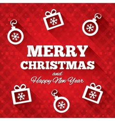 Merry Christmas greeting card with flat icons vector image