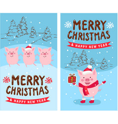 Merry christmas happy new year 2019 funny card vector