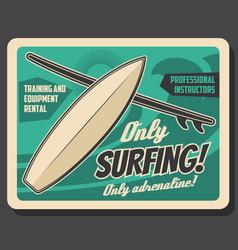 ocean surfing club surf board ans wave vector image