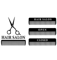 Open and closed hair salon sign with scissors vector