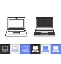 open laptop simple black line icon vector image