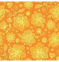 Orange doodle flowers ornate seamless pattern vector