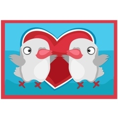 pair lovers birds picture on wall vector image