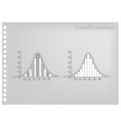 Paper art collection of normal distribution diagra vector