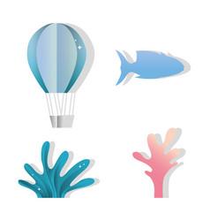 paper art underwater icons vector image