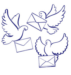 pigeon with envelope letter set icon collection vector image