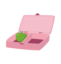 Pink lunch box with apple inside zero waste vector