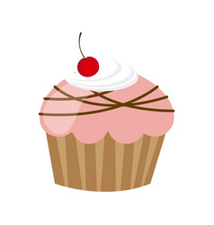Pink muffin with chocolate and cherry vector