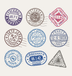postal stamps collection isolated stamps vector image