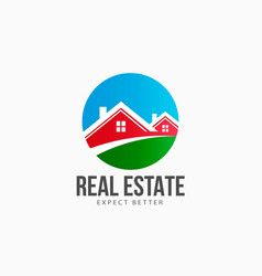 real estate houses circle logo vector image