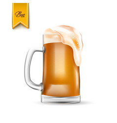 Realistic 3d beer glass with thick foam vector