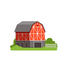 red barn farm agricultural building countryside vector image