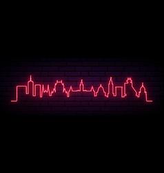 red neon skyline quebec bright quebec city vector image