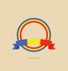Ribbon and circle with flag of romania vector