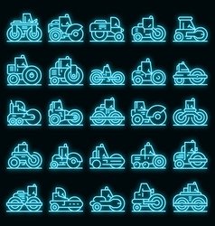 road roller icons set neon vector image