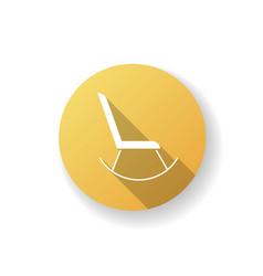 Rocking chair yellow flat design long shadow vector