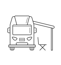 Rv camping motorhome line icon vector