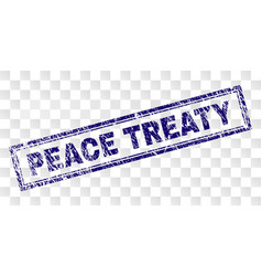 Scratched peace treaty rectangle stamp vector