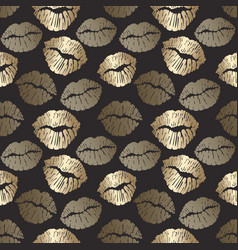 Seamless pattern with golden lips print gold lips vector