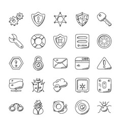 Security doodle icon pack vector
