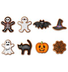 set halloween gingerbreads vector image