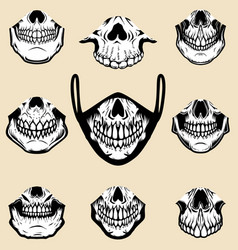 Set human jaw bone for printing on face vector